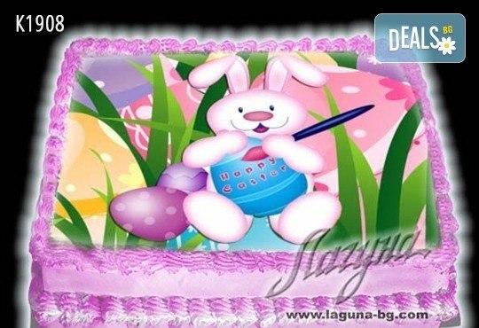 Великденска еклерова торта с пухкави пандишпанови блатове и пълнеж по избор за Вашата цветна празнична трапеза от Виенски салон Лагуна! Предплатете сега - Снимка 11