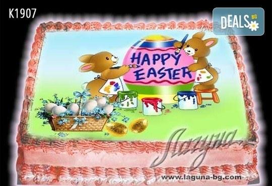 Великденска еклерова торта с пухкави пандишпанови блатове и пълнеж по избор за Вашата цветна празнична трапеза от Виенски салон Лагуна! Предплатете сега - Снимка 9