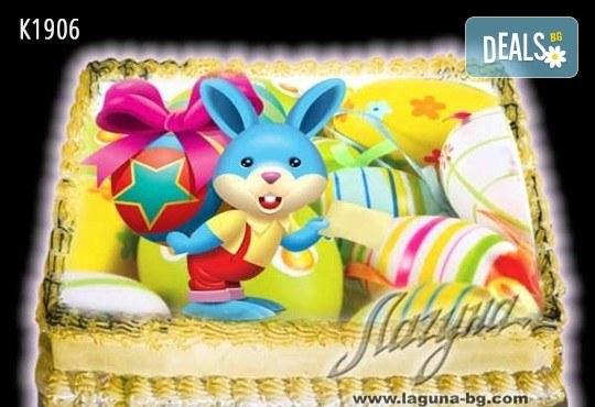 Великденска еклерова торта с пухкави пандишпанови блатове и пълнеж по избор за Вашата цветна празнична трапеза от Виенски салон Лагуна! Предплатете сега - Снимка 10