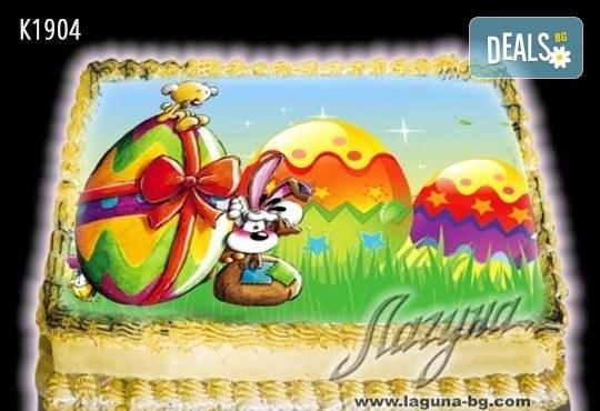 Великденска еклерова торта с пухкави пандишпанови блатове и пълнеж по избор за Вашата цветна празнична трапеза от Виенски салон Лагуна! Предплатете сега - Снимка 7