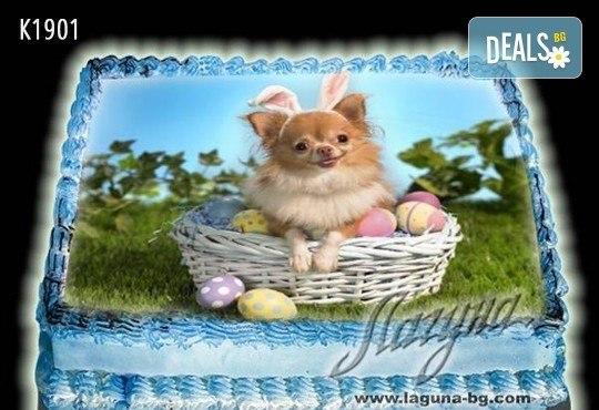 Великденска еклерова торта с пухкави пандишпанови блатове и пълнеж по избор за Вашата цветна празнична трапеза от Виенски салон Лагуна! Предплатете сега - Снимка 4