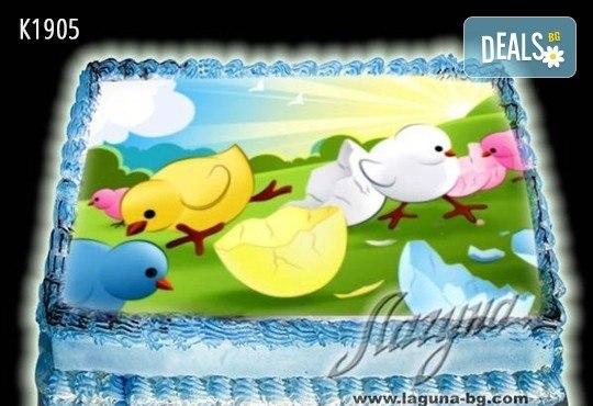 Великденска еклерова торта с пухкави пандишпанови блатове и пълнеж по избор за Вашата цветна празнична трапеза от Виенски салон Лагуна! Предплатете сега - Снимка 8