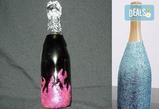 Изненадайте с отношение! Бутилка шампанско/вино Блясък с идивидуален дизайн по избор от Magic Print! - Снимка 2