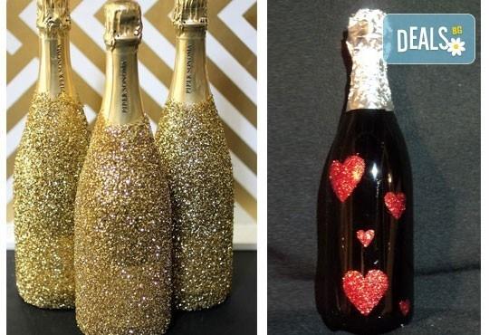Изненадайте с отношение! Бутилка шампанско/вино Блясък с идивидуален дизайн по избор от Magic Print! - Снимка 3