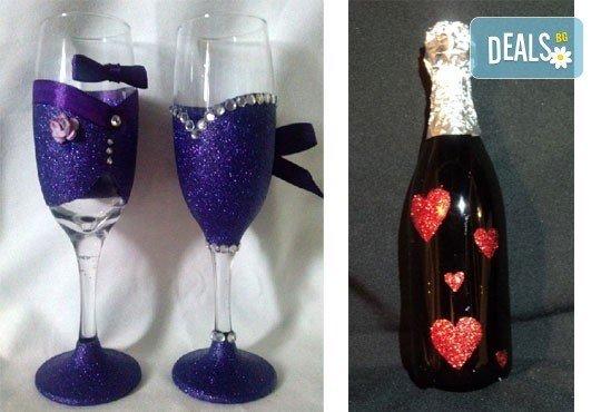 Добавете изисканост в специалния ден! Сватбена бутилка вино/шампанско и/или комплект 2 броя сватбени чаши от Magic Print! - Снимка 3