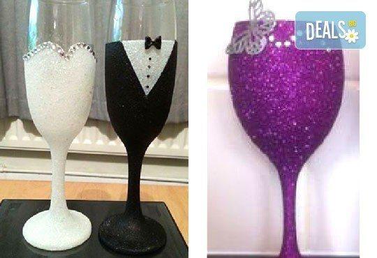 Добавете изисканост в специалния ден! Сватбена бутилка вино/шампанско и/или комплект 2 броя сватбени чаши от Magic Print! - Снимка 4