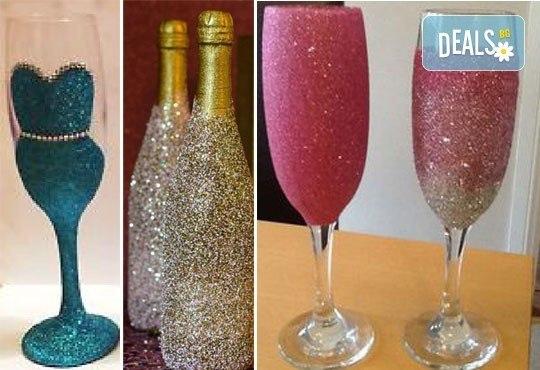 Добавете изисканост в специалния ден! Сватбена бутилка вино/шампанско и/или комплект 2 броя сватбени чаши от Magic Print! - Снимка 7