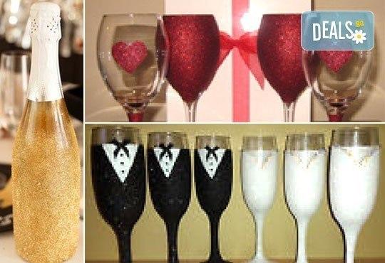 Добавете изисканост в специалния ден! Сватбена бутилка вино/шампанско и/или комплект 2 броя сватбени чаши от Magic Print! - Снимка 8