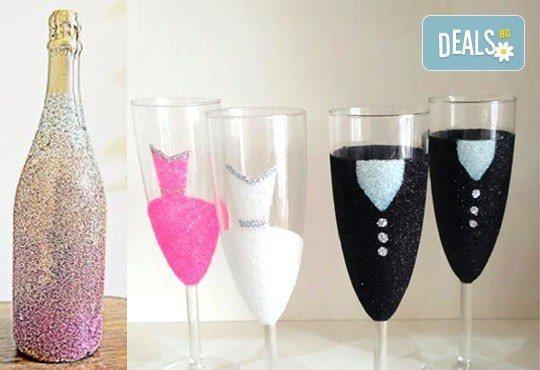Добавете изисканост в специалния ден! Сватбена бутилка вино/шампанско и/или комплект 2 броя сватбени чаши от Magic Print! - Снимка 9
