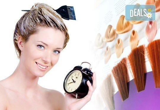 Свежест в косата! Боядисване с боя на клиента, масажно измиване и оформяне на прическа със сешоар по избор с или без подстригване - Снимка 1