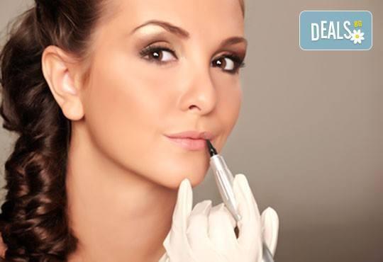 Перманентен грим на цяла вежда, устни контур или очна линия на горен клепач в NSB Beauty Center - Снимка 1