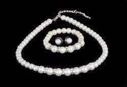 Луксозен комплект обеци, гривна и колие с перли и цирконий, Present For You