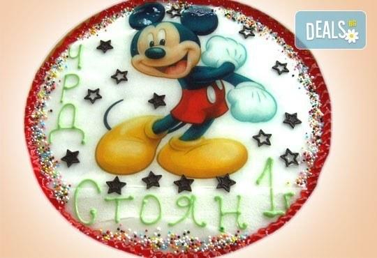 Кръгла детска торта 10 парчета с фотоснимка с любим герой или снимка по избор в Сладкарница Орхидея! - Снимка 1