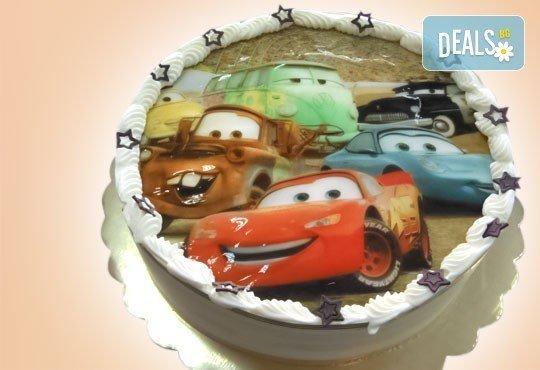 Кръгла детска торта 10 парчета с фотоснимка с любим герой или снимка по избор в Сладкарница Орхидея! - Снимка 3