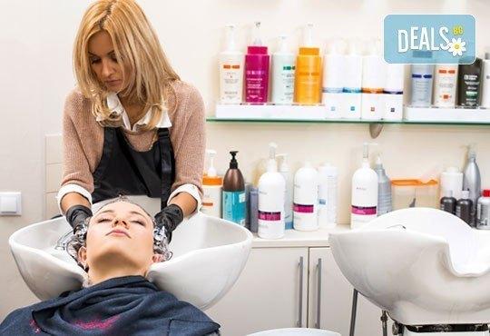 Подстригване, масажно измиване, терапия според типа коса, оформяне на прическа със сешоар, обем в корените по желание и подарък плитка - Снимка 2