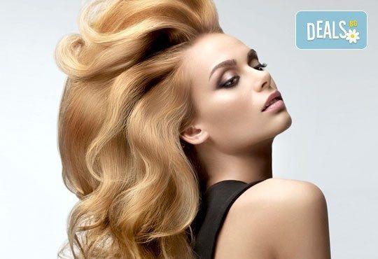 Подстригване, масажно измиване, терапия според типа коса, оформяне на прическа със сешоар, обем в корените по желание и подарък плитка - Снимка 1
