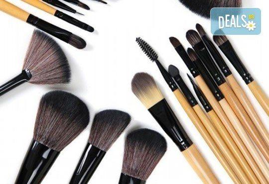 Гримирайте с лекота! Комплект четки за грим от естествен косъм, 24 броя с кожен калъф от NSB Beauty Center! - Снимка 1