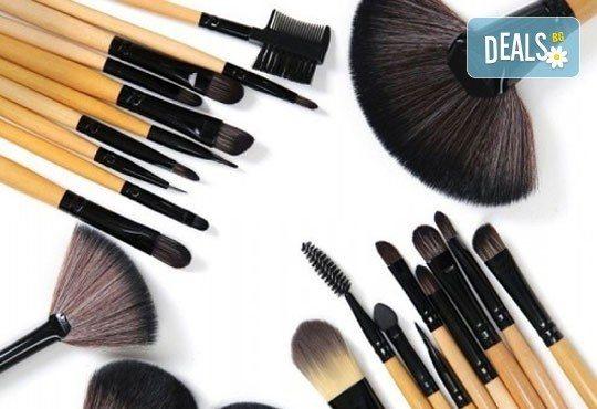 Гримирайте с лекота! Комплект четки за грим от естествен косъм, 24 броя с кожен калъф от NSB Beauty Center! - Снимка 4