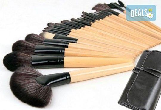 Гримирайте с лекота! Комплект четки за грим от естествен косъм, 24 броя с кожен калъф от NSB Beauty Center! - Снимка 3