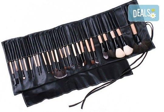 Гримирайте с лекота! Комплект четки за грим от естествен косъм, 24 броя с кожен калъф от NSB Beauty Center! - Снимка 2