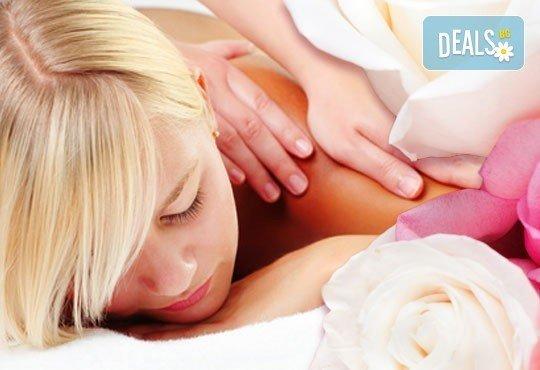Подарък за любимата жена! 90 минути релакс: арома масаж с етерично масло от рози, нежен пилинг със соли и розово масло, маска за лице и душ в Senses Massage & Recreation - Снимка 1