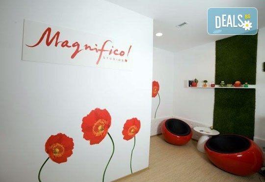 Подмладяваща терапия! Лифтинг масаж на лице, шия и деколте, компрес и маска с кал в студио Магнифико! - Снимка 3