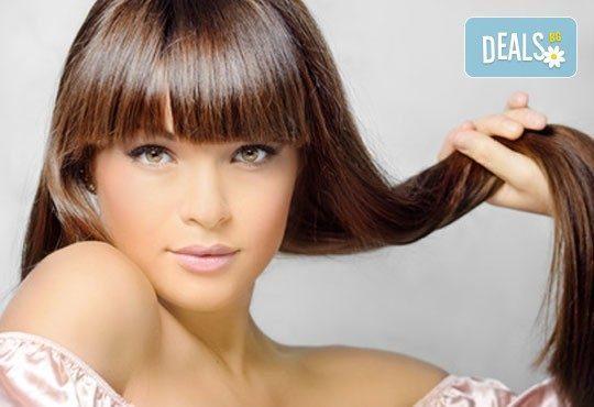 Кератинова терапия за коса с инфраред преса и ултразвук, прическа и по избор подстригване от N&S Fashion зелен салон - Снимка 2