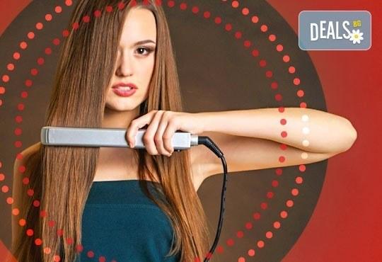 Кератинова терапия за коса с инфраред преса и ултразвук, прическа и по избор подстригване от N&S Fashion зелен салон - Снимка 1