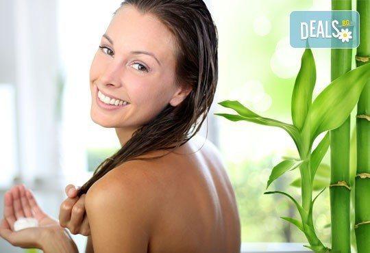 Бамбукова терапия за коса с инфраред преса и ултразвук, масажно измиване и прав сешоар от N&S Fashion зелен салон - Снимка 2