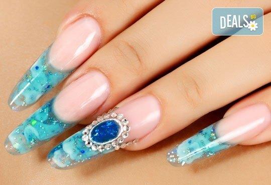 Красиви нокти! Ноктопластика с изграждане с гел + четири авторски декорации в Салон за красота Belisimas, жк Тракия - Снимка 1
