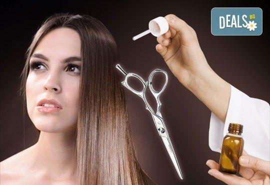 Нова визия! Подстригване, маска, терапия на коса с италианска козметика, ампула и сешоар от Салон за красота Belisimas - Снимка 1