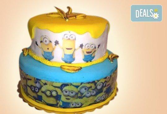 Детска торта Миньон, дизайн по избор в 3D проект от Сладкарница Орхидея! - Снимка 1