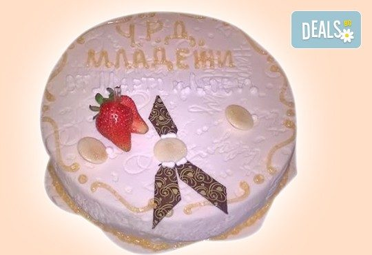 Бутикова торта с щампа Happy Birthday, перли, орхидеи, рози и любими детски герои от сладкарница Орхидея! - Снимка 13