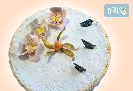 Бутикова торта с щампа Happy Birthday, перли, орхидеи, рози и любими детски герои от сладкарница Орхидея! - Снимка 7