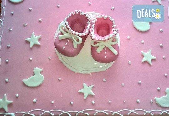 Бутикова торта с щампа Happy Birthday, перли, орхидеи, рози и любими детски герои от сладкарница Орхидея! - Снимка 3