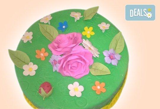 Бутикова торта с щампа Happy Birthday, перли, орхидеи, рози и любими детски герои от сладкарница Орхидея! - Снимка 4