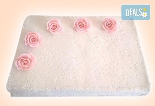 Бутикова торта с щампа Happy Birthday, перли, орхидеи, рози и любими детски герои от сладкарница Орхидея! - Снимка 11