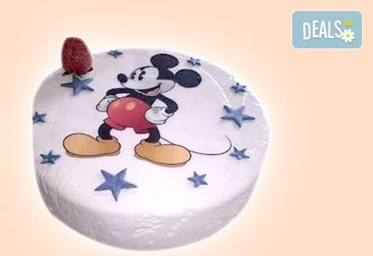 Бутикова торта с щампа Happy Birthday, перли, орхидеи, рози и любими детски герои от сладкарница Орхидея! - Снимка 1