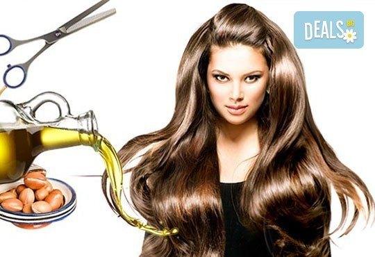 Свежа прическа! Подстригване, измиване, арганова терапия и прав сешоар в салон за красота Diva! - Снимка 1
