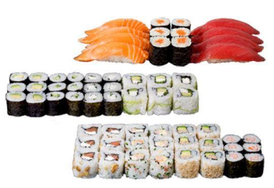 Супер предложение от Sushi King! 50 броя хапки със сьомга, нори и японски сосове в Суши сет Даймьо - Снимка 1
