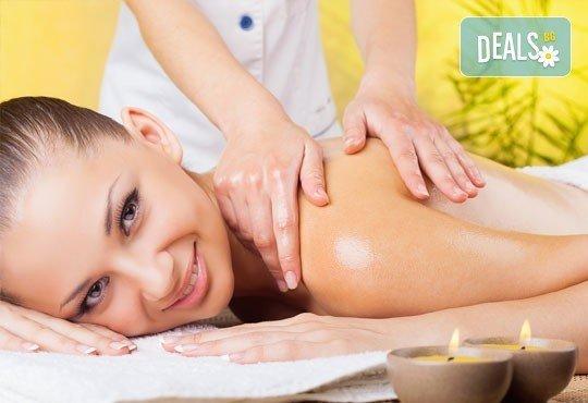 Болкоуспокояващ масаж на гръб, врат, рамене и кръст с масло от алое, лавандула, иланг-иланг и портокал в Wave Studio - НДК - Снимка 2