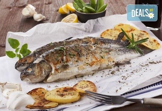 Полезните Омега-3! ДВЕ порции пъстърва или норвежка скумрия (пържена/ печена) + картофки за гарнитура в р-т Balito - Снимка 1