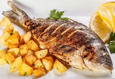 Средиземноморски кулинарен круиз! Две порции Лаврак или Ципура с гарнитура чипс картофи и зеле и моркови в Ресторант BALITO