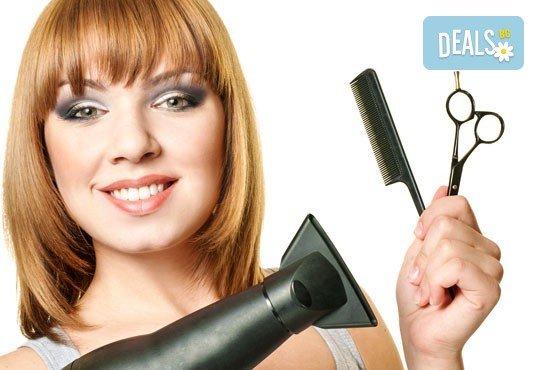 Подстригване, масажно измиване, терапия според типа коса, оформяне на прическа със сешоар, обем в корените по желание и подарък плитка - Снимка 3