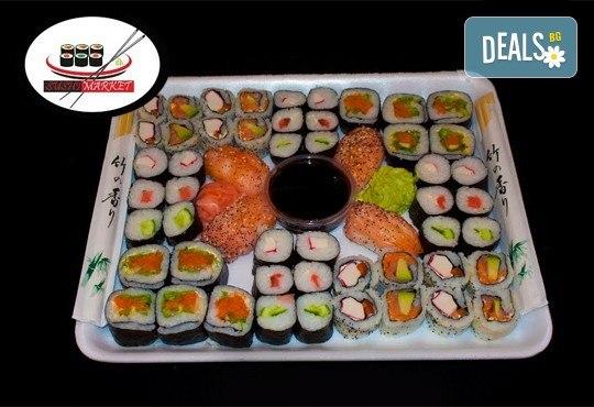 Вземете 54 вкусни суши хапки със сурими раци, пушена сьомга, филаделфия и розова херинга от Sushi Market! - Снимка 1