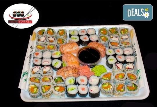 Екзотика! 60 суши хапкис пушена сьомга, филаделфия, бяла херинга, свежа салата, сурими раци и хайвер, възможност за доставка от Sushi Market! - Снимка 1
