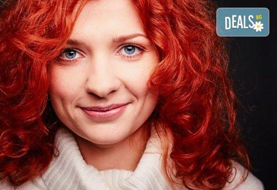 Боядисване на коса с боя на клиента, измиване с шампоан с продукти на L'Oréal, маска с продукти на L'Oréal и прическа със сешоар от Ивани Стил! - Снимка 1