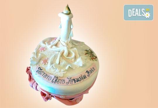 Красива тортa за Кръщенe - с надпис Честито свето кръщене, кръстче, Библия и свещ от Сладкарница Джорджо Джани - Снимка 9