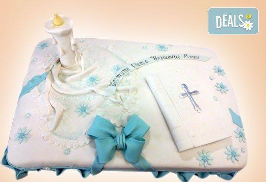 Красива тортa за Кръщенe - с надпис Честито свето кръщене, кръстче, Библия и свещ от Сладкарница Джорджо Джани - Снимка 3