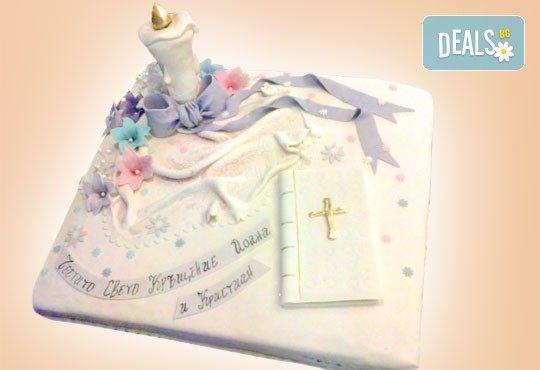Красива тортa за Кръщенe - с надпис Честито свето кръщене, кръстче, Библия и свещ от Сладкарница Джорджо Джани - Снимка 4